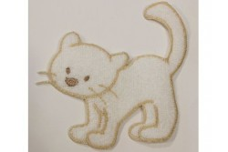 Motif thermocollant petit chat blanc liseret beige