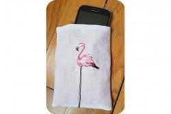 Kit de broderie avec fils de soie Pochette Flamingo