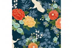 """Tissu Makower """"Michiko"""" Floral Blue"""