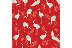 """Tissu Makower """"Michiko"""" Cranes Red"""