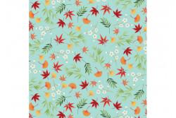 "Tissu Makower ""Michiko"" Foliage Turq"