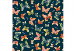 """Tissu Makower """"Michiko"""" Butterflies Blue"""
