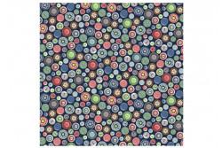 "Tissu patch ""Betterstitch"" motifs petits boutons sur fond marine"