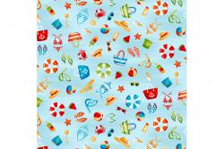 "Tissu patch ""Beside the Sea"" Petits motifs plage sur fond bleu"
