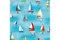 "Tissu patch ""Beside the Sea"" Sailsboats sky blue"