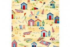 """Tissu patch """"Beside the Sea"""" Beach Hut scene"""