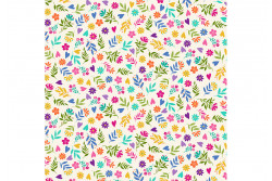 """Tissu patch de Makower """"Cats"""" Ditzy flower Cream"""