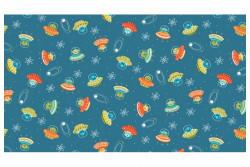 """Tissu Makower """"Space soucoupes"""" Blue"""