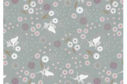 """Tissu """"Fairy Clocks"""" petites fées, bleu gris avec petits points argentés"""