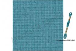 Etamine unifil LUGANA de Zweigart coloris 6136 bleu turquoise lurex