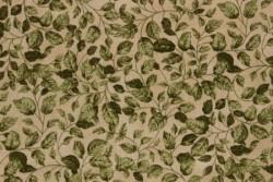 tissus patch Stof  Feuilles vertes sur fond beige