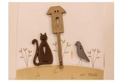 """Boutons """"Nichoir chat et oiseau"""""""