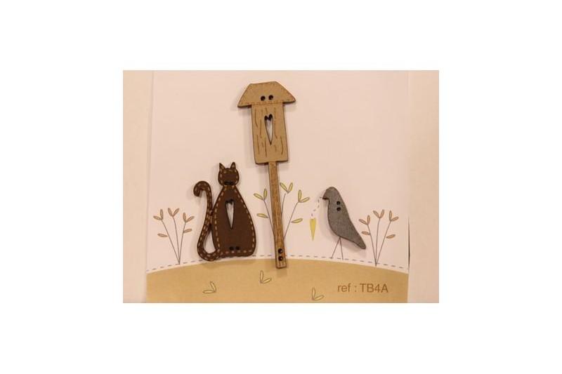 Boutons nichoir chat et oiseau for Anti bouton maison