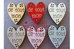 """Boutons en bois laqué """"de tout mon cœur"""""""
