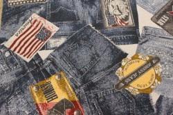 """Tissu Couture """"Jeans"""" motifs et logos"""