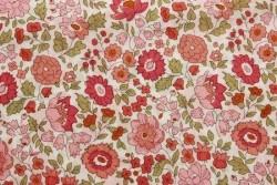 """Tissu couture Liberty """"DANJO"""" fleurs roses sur fond ivoire"""