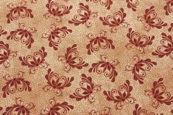 Tissu patch A Quilter's Garden motifs bordeaux sur fond beige