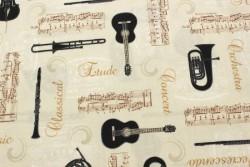 """Tissu Patchwork Stof """"Allégro"""" instruments de musique sur fond ivoire"""