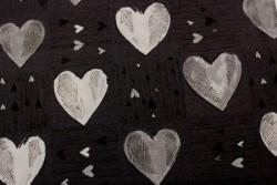 """Tissu Patchwork Stof """"Heart 2 You"""" coeurs gris sur fond noir"""