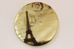 """bouton fantaisie en nacre de Tahiti imprimée """"Tour Eiffel"""""""