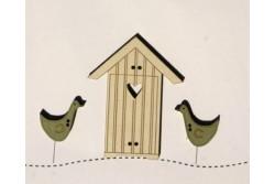 """3 Boutons en bois """" maison au bord de l'eau """""""