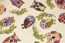 """Tissu Couture """"Hiboux"""" multicolores sur fond crème"""