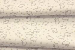 "Tissu Jersey ""petits lapins gris sur fond blanc"""