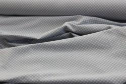 """Tissu Jersey """"Petits pois gris et beige sur fond gris"""""""