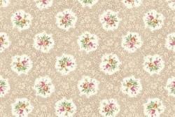 "tissu patch ""Ruru"" Médaillon fleurs sur fond beige"