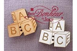 """Bouton en bois laqué """" cubes Alphabet"""""""