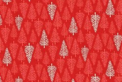 """Tissu Patch """"SCANDI"""" Trees Red"""