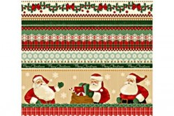 "Tissu Patchwork  Christmas ""papa Noël"" Frise"