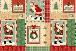 "Tissu Patchwork  Christmas ""papa Noël"" Etiquettes"