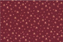 "tissu patch ""Memory Maas"" petites roses fond bordeaux"