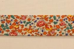 "Biais Liberty ""ELOÏSE"" semi de fleurs oranges et Fuchsia"