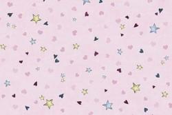 Tissu Patch collection Gorjuss étoiles et coeurs fond rose