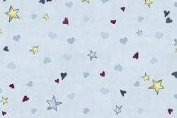 Tissu Patch collection Gorjuss étoiles et coeurs fond ciel