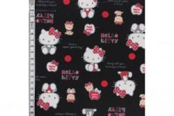 Tissu Hello Kitty sur fond noir