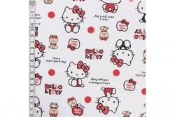 Tissu Hello Kitty sur fond blanc