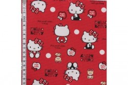 Tissus Hello Kitty sur fond rouge