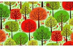 "Tissu patch ""Landscape and Forest"" trees"
