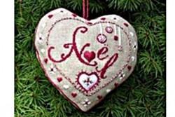 """Kit de broderie jour de Lin """"Accroche coeur Noël"""""""