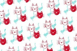 Tissu patch Collection Meow, Méow, têtes de chat rouge et blanc