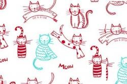 Tissu patch Collection Meow, Méow, chats sauteurs rouge et turquoise