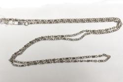 chaine de sac en métal argent 120 cm