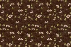 """Tissu """"La vie est belle"""" fleurs et sarments chocolat"""