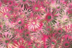 "tissu patch Bali Handpaints Floral batik Daisies ""Radish"""