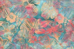 "tissu patch Bali Handpaints Graphic Floral ""blue Hawaïan"""