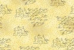"""Tissu Patch collection """"Glimmering"""" plumetis et écritures fond crème"""