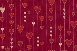 """Tissu Patch collection """"Glimmering"""" guirlandes de coeurs fond bordeaux"""